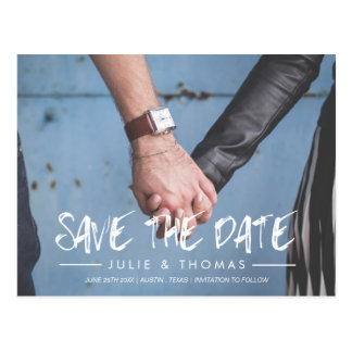 Handwritten Brush Personalized Photo Save The Date Postcard