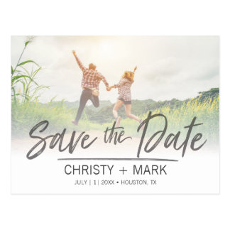 Handwritten Faded Image | Save the Date Postcard