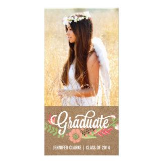 HANDWRITTEN FLOWER KRAFT GRADUATION ANNOUNCEMENT PERSONALIZED PHOTO CARD