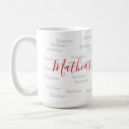 handwritten font style name on personalized coffee mug