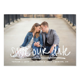 Handwritten Full Photo Save Our Date Card