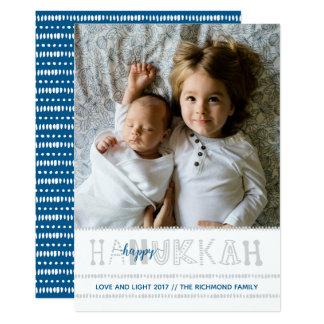 Handwritten Happy Hanukkah Photo Card - Blue