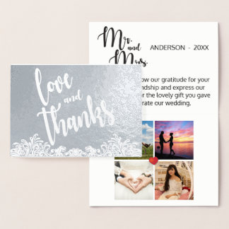 Handwritten Love and Thanks Script Overlay Collage Foil Card