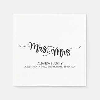 HANDWRITTEN Mrs & Mrs. WEDDING PAPER NAPKINS