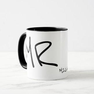 handwritten name & initials personalized b/w mug
