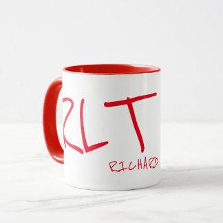 handwritten name & initials personalized red mug