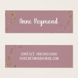 handwritten name splattered dots elegant old-rose mini business card