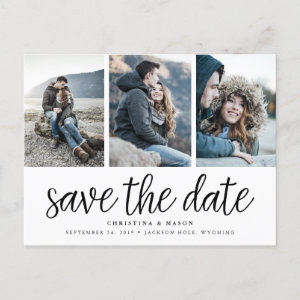 Handwritten Script Three Photo Save the Date Announcement Postcard
