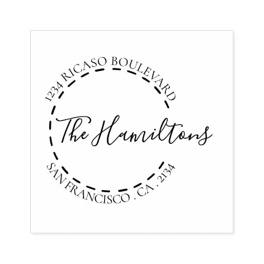 Handwritten Surname Circular Address Personalized Rubber Stamp