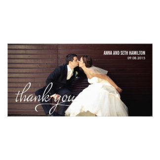 HANDWRITTEN Thank You Cards - White Photo Greeting Card