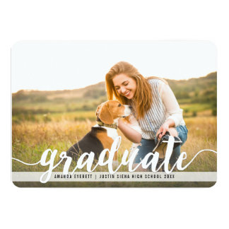 Handwritten White | Photo Graduation Announcement