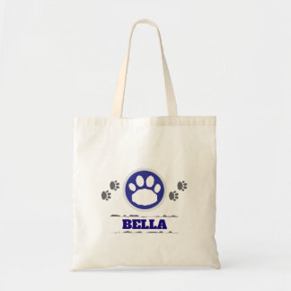 Handy Blue and Gray Pet Paws Tote Bag
