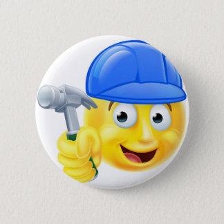 Handy Man Carpenter Builder Emoji Emoticon 2 Inch Round Button