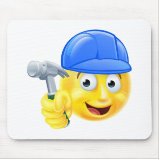 Handy Man Carpenter Builder Emoji Emoticon Mouse Pad