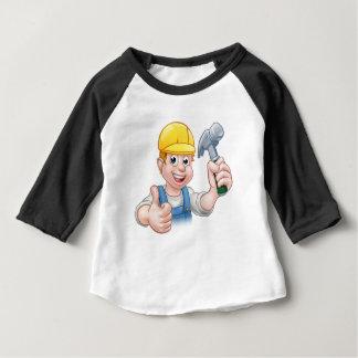 Handyman Carpenter Cartoon Character Holding Hamme Baby T-Shirt