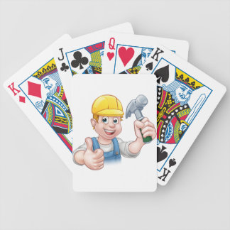 Handyman Carpenter Cartoon Character Holding Hamme Bicycle Playing Cards