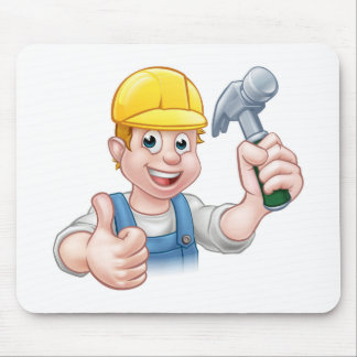Handyman Carpenter Cartoon Character Holding Hamme Mouse Pad