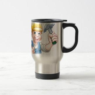 Handyman Carpenter Cartoon Character Holding Hamme Travel Mug