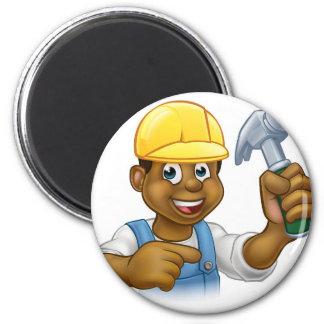 Handyman Carpenter Hammer Man 2 Inch Round Magnet