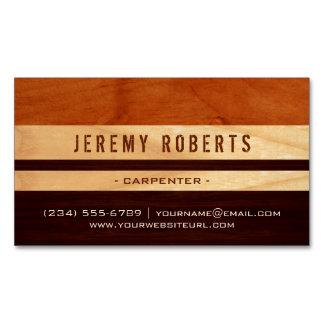 Handyman Carpenter Remodeling Stylish Wood Stripes Magnetic Business Card