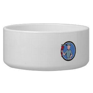 Handyman Monkey Wrench Circle Cartoon Dog Food Bowl