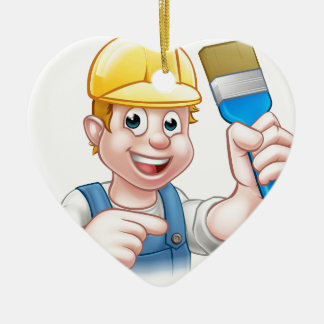 Handyman Painter Decorator With Paintbrush Ceramic Heart Ornament