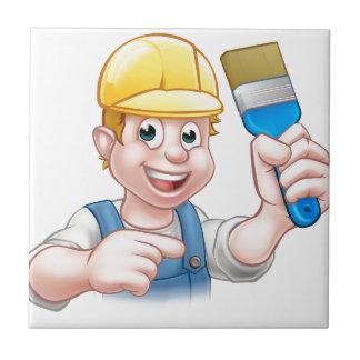 Handyman Painter Decorator With Paintbrush Ceramic Tile