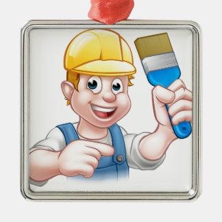 Handyman Painter Decorator With Paintbrush Silver-Colored Square Ornament