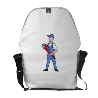 Handyman Pipe Wrench Standing Cartoon Courier Bags