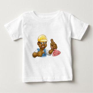 Handyman Plumber Holding Punger Cartoon Character Baby T-Shirt