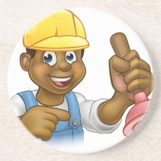 Handyman Plumber Holding Punger Cartoon Character Beverage Coaster