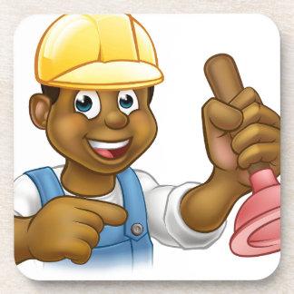 Handyman Plumber Holding Punger Cartoon Character Coaster