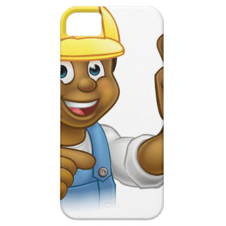 Handyman Plumber Holding Punger Cartoon Character iPhone 5 Cover