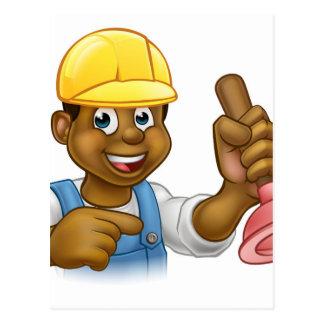 Handyman Plumber Holding Punger Cartoon Character Postcard