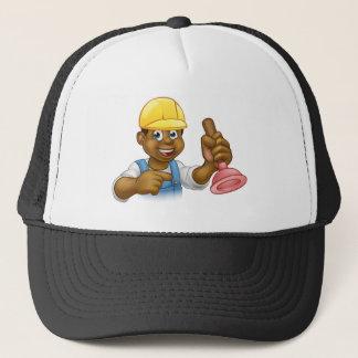Handyman Plumber Holding Punger Cartoon Character Trucker Hat