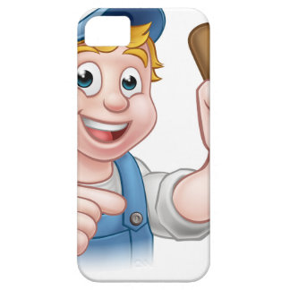 Handyman Plumber With Plunger Cartoon Character iPhone 5 Case
