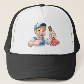 Handyman Plumber With Plunger Cartoon Character Trucker Hat