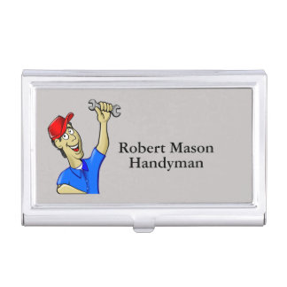 Handyman Repairman Caricature Tools Business Card Holder