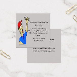 Handyman Repairman Caricature Tools Square Business Card