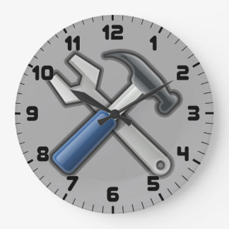 Handyman Tools Hammer and Wrench Wall Clock