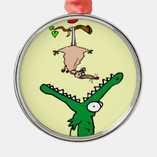 Hang On Alligator and Possum Silver-Colored Round Ornament