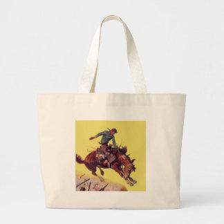 Hang On Cowboy Large Tote Bag