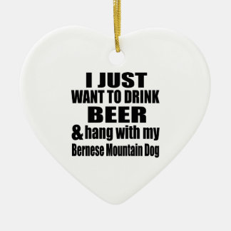 Hang With My Bernese Mountain Dog Ceramic Heart Ornament