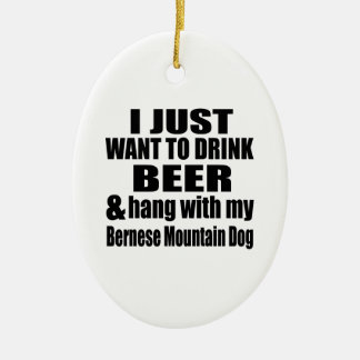 Hang With My Bernese Mountain Dog Ceramic Oval Ornament