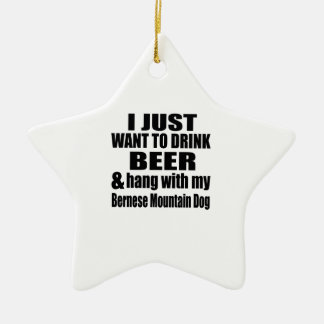 Hang With My Bernese Mountain Dog Ceramic Star Ornament