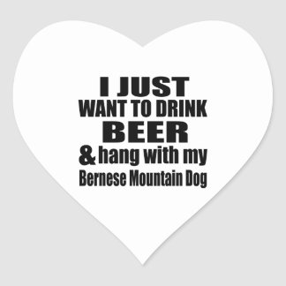 Hang With My Bernese Mountain Dog Heart Sticker