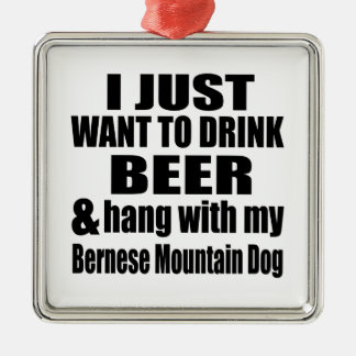 Hang With My Bernese Mountain Dog Silver-Colored Square Ornament