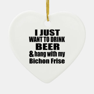 Hang With My Bichon Frise Ceramic Heart Ornament