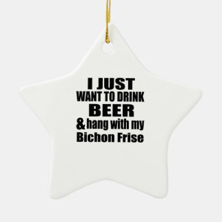 Hang With My Bichon Frise Ceramic Star Ornament