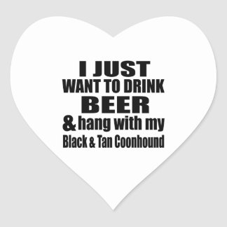 Hang With My Black & Tan Coonhound Heart Sticker